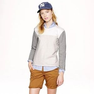 J. Crew back-zip color block Crewneck sweatshirt